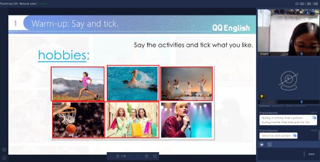 QQEnglishの1回目のレッスン風景