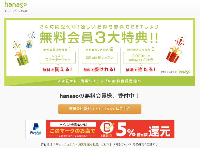 hanasoの会員登録手順2